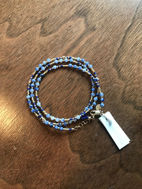 Wrap Bracelet in Sapphire Blue & Gold