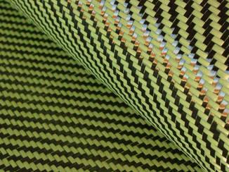 Tejido Hibrido Fibra de Carbono - Kevlar (Amarillo) Twill (o Plano) 2x2