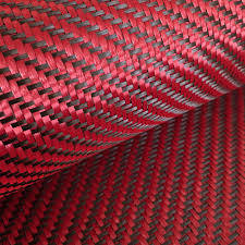 Tejido Híbrido Fibra de Carbono - Kevlar  Twill 2x2  (Rojo)