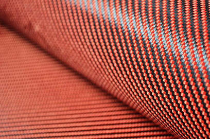 Tejido Hibrido Fibra de Carbono - Kevlar (rojo y naranja) Twill 2x2