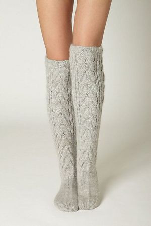 Thermic Bliss Socks from Anthro. Love knee high cable knits with brown boots. But make your own from old sweater sleeves. Easy Peasy.: