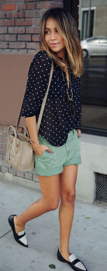 Street Style 2015: fatigue shorts from Madewell and  pointy flats from Celine: