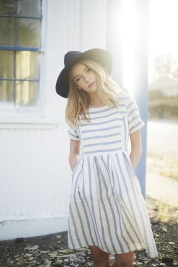 The Celebration Striped Dress in Blue: