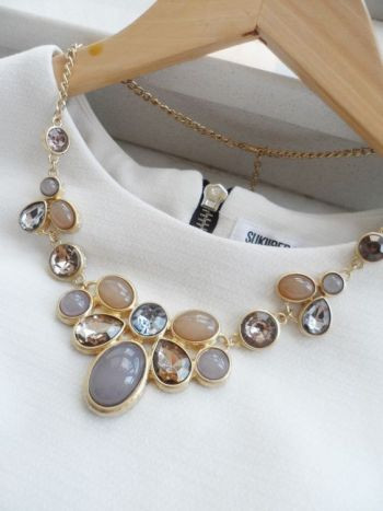 Champagne  and Grey Jeweled Crystal Statement Necklace / Anthropologie Necklace / Chunky Statement Necklace / Bib Necklace / Jcrew Necklace by AnneEmmaJewelry on Etsy https://www.etsy.com/listing/169450212/champagne-and-grey-jeweled-crystal: