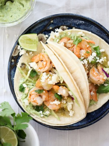 Shrimp Tacos with Garlic Avocado Cream on foodiecrush.com