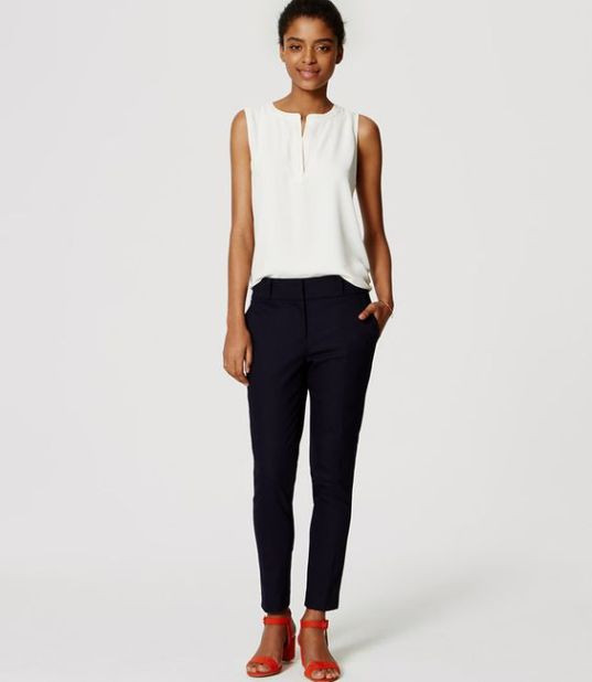 For Ashlea: Navy , Size 0 Petite Essential Skinny Ankle Pants in Marisa Fit