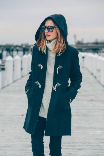 WOOL TOGGLE COAT AND TURTLENECK SWEATER, Eliza and James Roosevelt sunglasses: