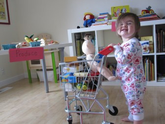 Image result for toddler playing grocery store