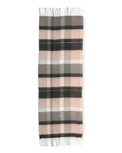 Plaid Blanket Scarf with Fringe Trim