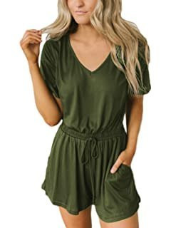 Image result for ANRABESS Women Jumpsuits V Neck Wide Leg Elastic Waist Long Pant Jumpsuits Rompers with Pockets