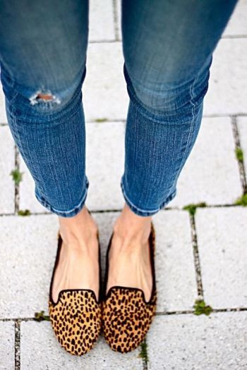 leopard loafers: