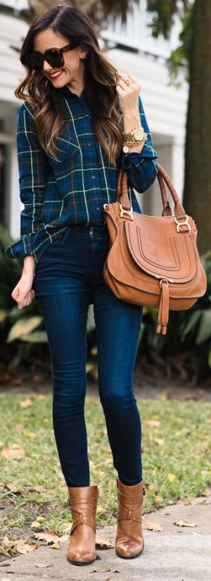 Dark Denim + Plaid Top With Pops Of Red: