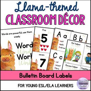 Classroom Décor - Watercolour Llama Theme