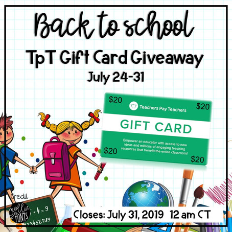 Back to school TpT gift card giveaway