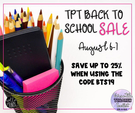 TpT Back to School Sale 2019