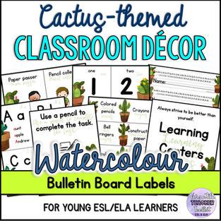 Classroom Décor - Watercolour Cactus Theme