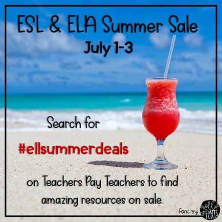 ESL and ELA Summer Sale