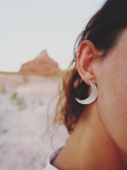 Hammered Luna Earrings