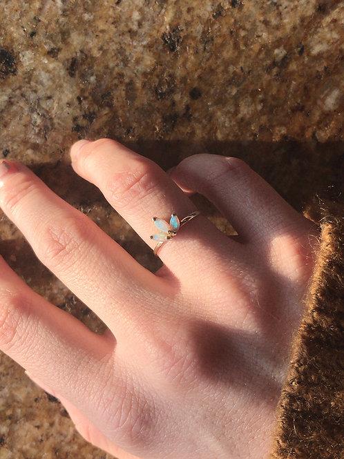 Three Leaf Opal Ring