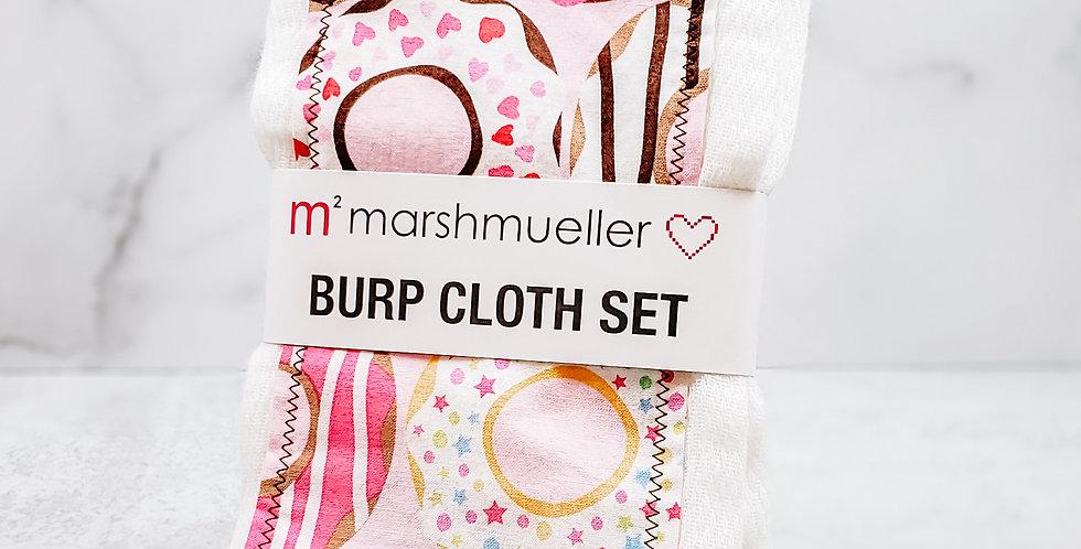 Pink Donuts Burp Cloth Set