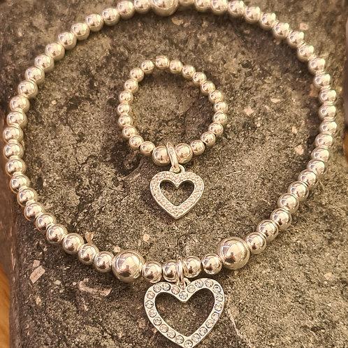 CZ Open Heart Bracelet & Ring Set in Sterling Silver