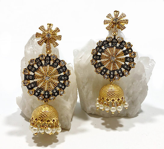 Designer Collection * Jhumka Mixed Metal Bell Earrings