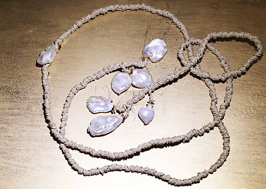 Keshi Pearl Cotton Wrap Necklace