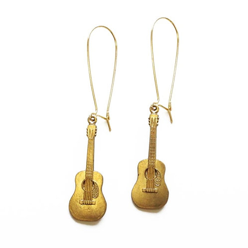 Brass Acoustic Guitar Earrings