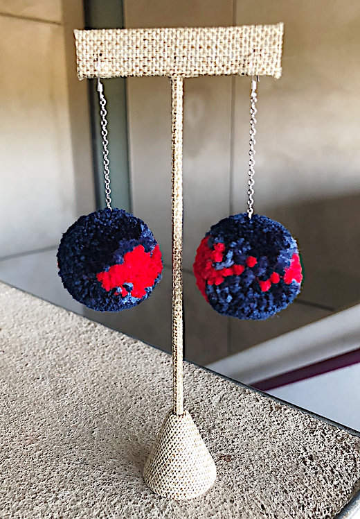 Ole Miss Large Pom Drop Game Day Earrings