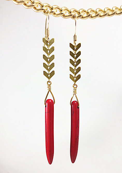 Gold Arrow Red Spike Earrings