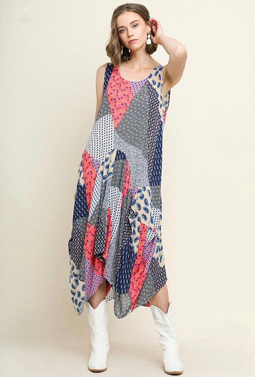 Patchwork Sleeveless Midi Dress