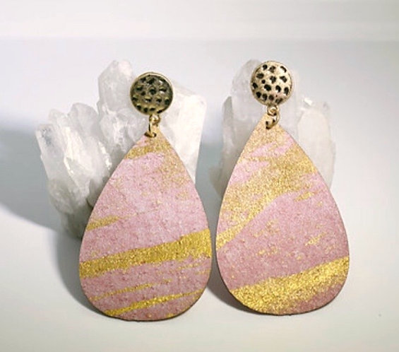 Painted Cork with Gold Brush Earrings