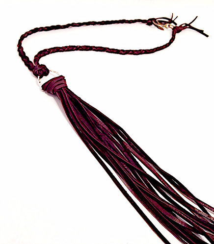 Braided Leather Long Tassel Necklace