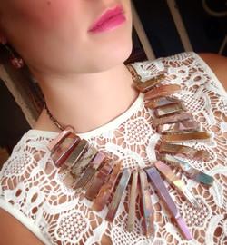 Metallic Quartz Fringe Necklace