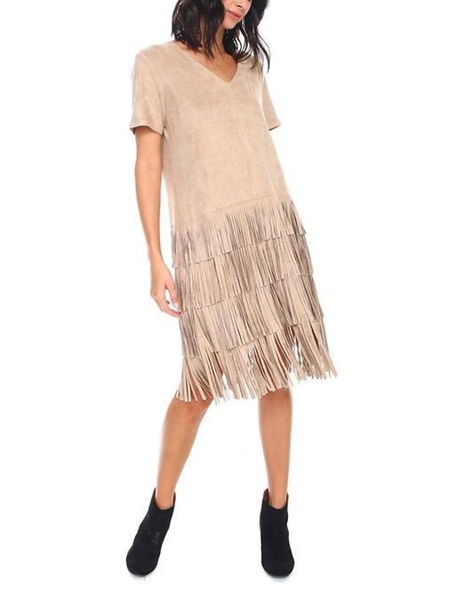 Suede Fringe T-Shirt Dress