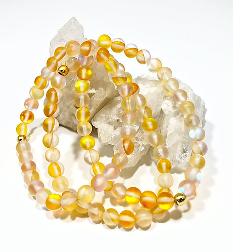 Yellow Rainbow Moonstone Bracelet