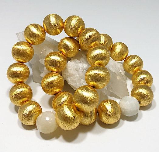 Designer Collection * Brushed Gold & Moonstone Bracelet