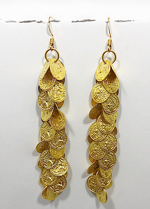 Designer Collection * Gold Coin Tassel Earrings