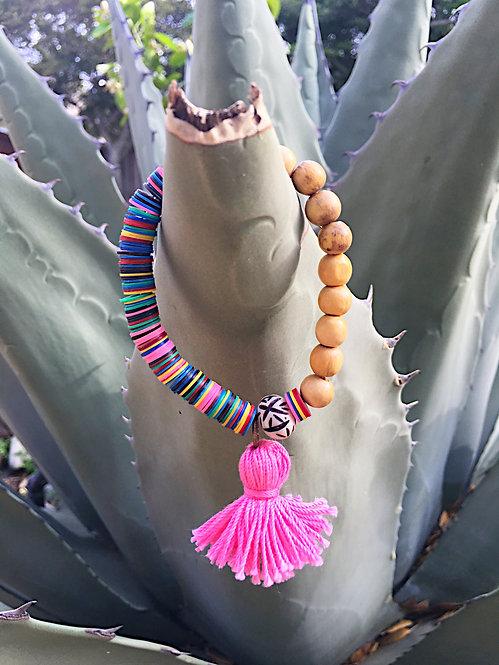 African Vinyl Bead Tassel Bracelet
