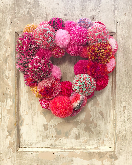 """Made with Love"" POM POM VALENTINE'S WREATH"