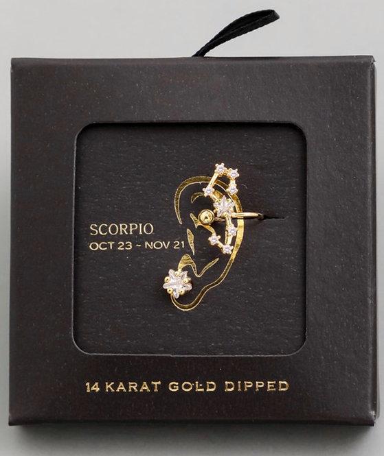 Scorpio Zodiac Ear Cuff and Stud Set