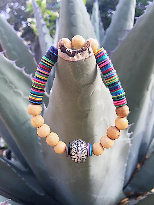 African Vinyl and Jasper Beaded Bracelet
