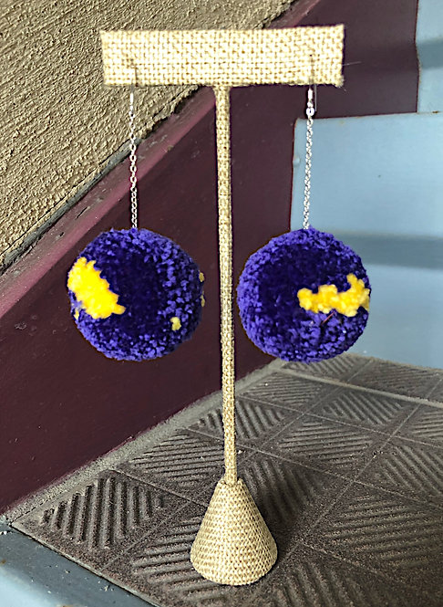 LSU Large Pom Drop Game Day Earrings