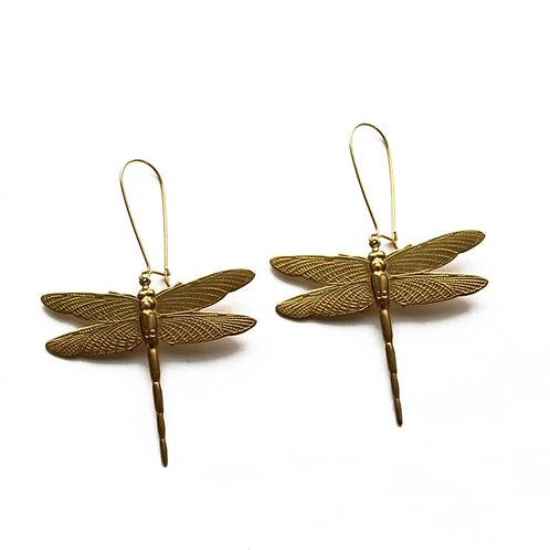 Vintage Brass Dragonfly Earrings