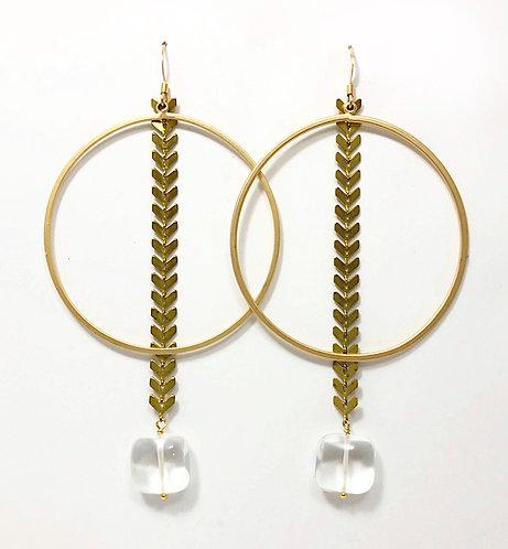 Hoop and Arrow Chain Earrings