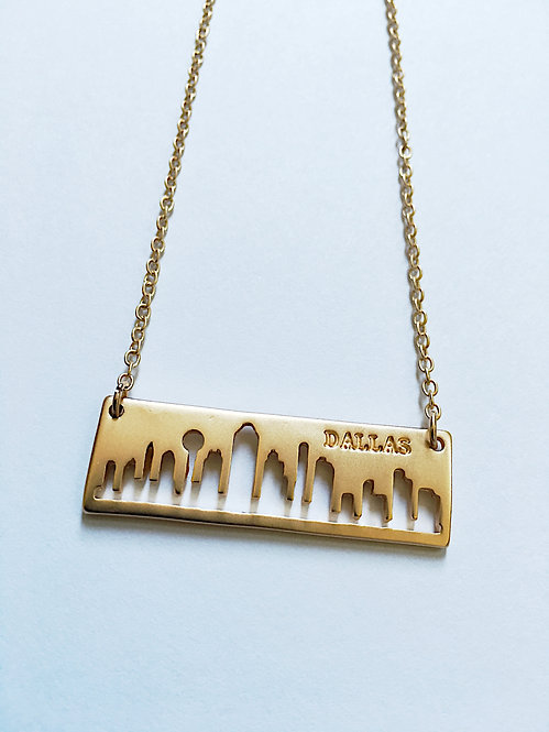 Gold Dallas Skyline Necklace