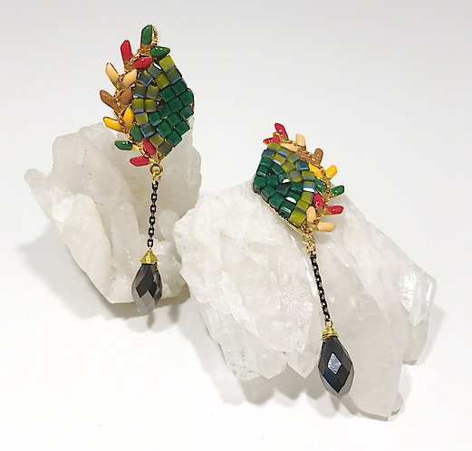 Designer Collection * Peacock Maze Statement Earrings