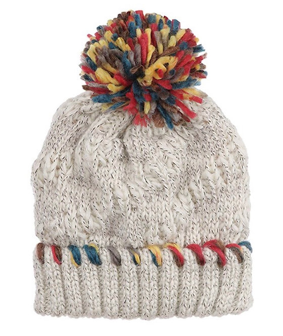 Heathered Knit Beanie with Large Multi Pom