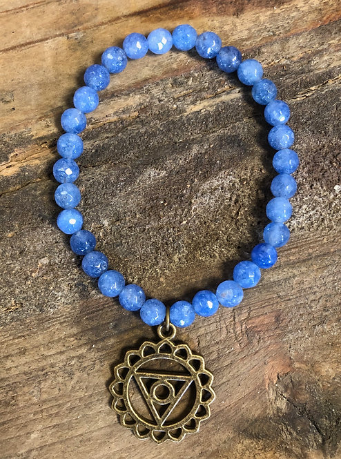 """Balance Your Chakra"" THROAT Jade Charm Bracelet"