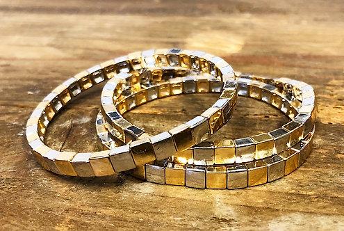 Silver & Gold Tile Bracelet
